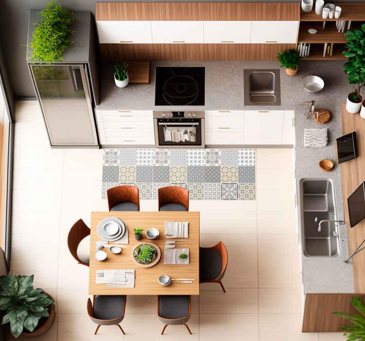 TenVinilo. Alfombra vinilo azulejos grises marroquíes. Alfombra vinilo azulejos con la ilustración de azulejos en color gris ideal para que decores en solo minutos el suelo de tu salón o cocina.