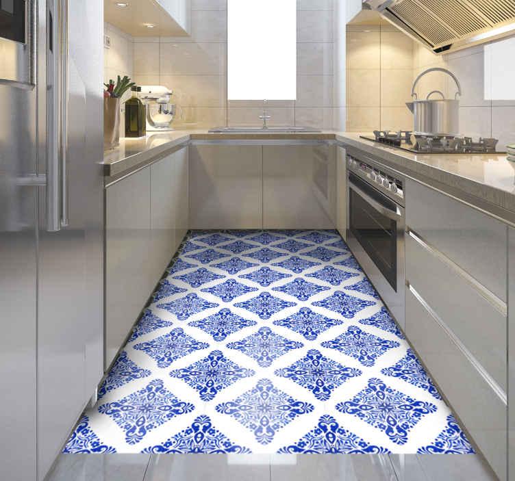 TenVinilo. Alfombras vinilo azulejos azules estilo árabe. Alfombra vinilo azulejos marroquíes con la ilustración efecto azulejo marroquí, ideal para que decores tu cocina o cualquier otro lugar.