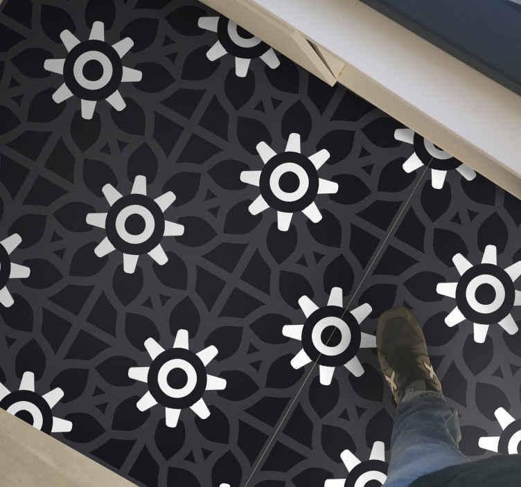 TenStickers. Dywan winylowy do biura Efekt płytek kwiatowych. Kwiatowy dywan z oryginalnym wzorem, który ilustruje efekt płytek kwiatowych beaumont, świetny projekt do umieszczenia tego dywanu na podłodze w domu