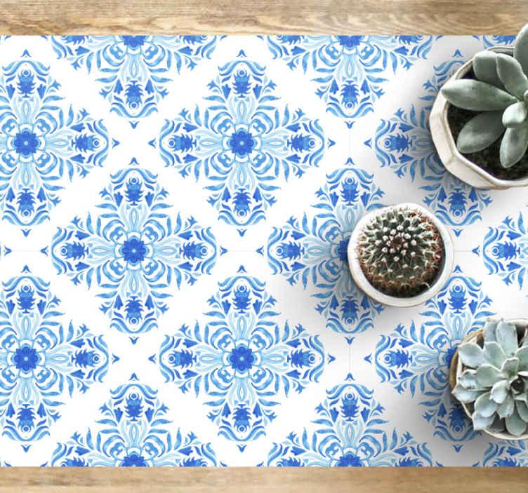 TenVinilo. Alfombra vinílica hidráulica azul fontaine. Alfombra vinilo hidráulica efecto azulejo se basa en un fondo blanco con formas rojas de mandala creando un efecto azulejo ¡Entrega a domicilio!