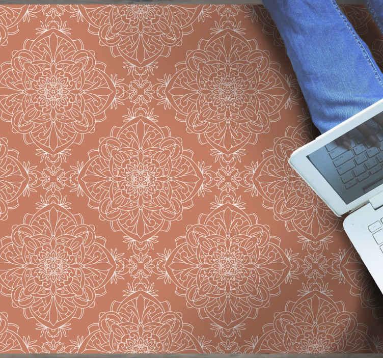 TenVinilo. Alfombras vinilo hidraúlica baldosas terracota. Alfombra vinilo hidráulica con efecto azulejo es de color terracota delicado y sutil y formas blancas y delgadas por todas partes ¡Elige tu tamaño!