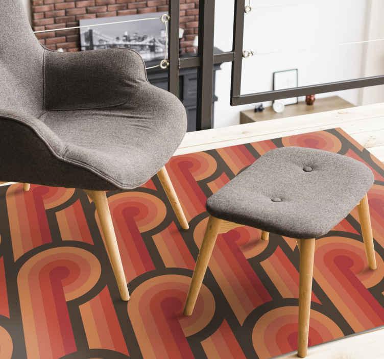 TenVinilo. Alfombra vinilo vintage nudos de los 70. ¡Consigue esta increíble alfombra vinilo vintage con patrónnaranja en tu casa e ilumina la habitación! Fácil de limpiar ¡Elige tus medidas!