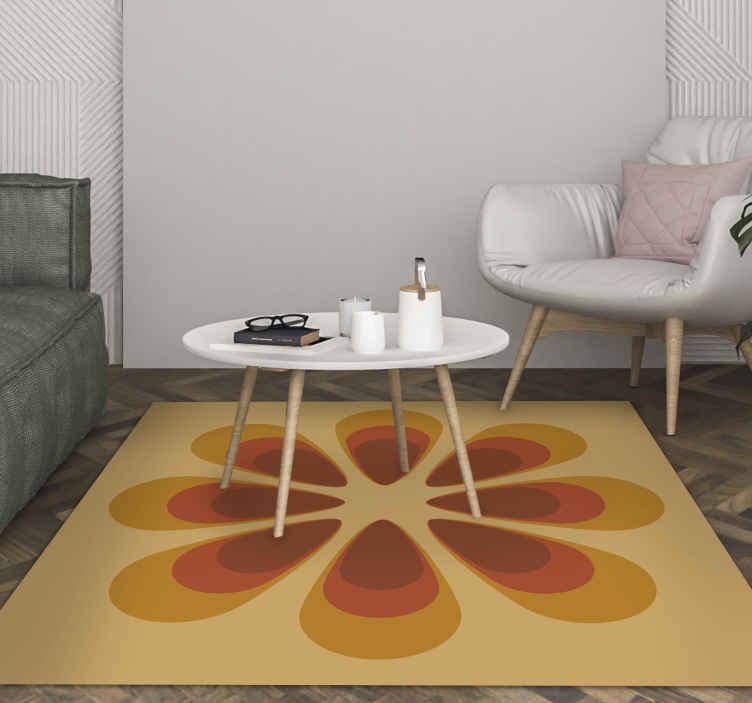 TenVinilo. Alfombra vinilo vintage flor tonos cálidos. Esta increíble alfombra vinilo vintage definitivamente iluminará su habitación con su gran flor. Decora ahora tu casa a tu gusto ¡Envío exprés!