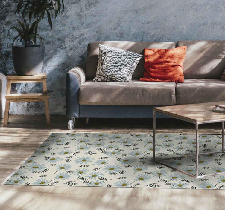 TenVinilo. Alfombra vinilo vintage patrón margaritas. Decora tu casa con esta increíble alfombra vinilo vintage de color gris y con patrón de margaritas. Elige las medidas ¡Fácil de limpiar!