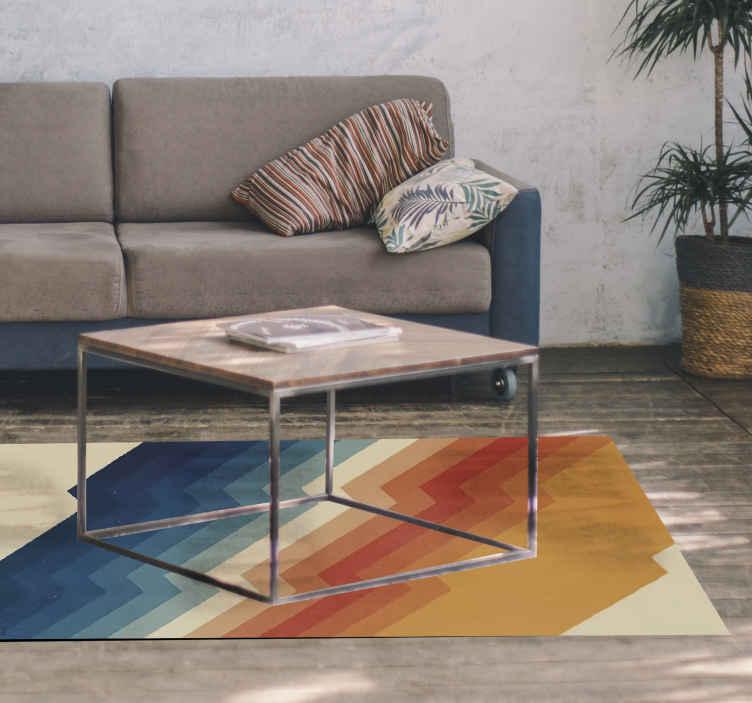 TenVinilo. Alfombra vinilo rayas de los 70. Alfombra vinilo rayas con patrón de rayos de los 70 que iluminará su sala de estar, cocina, comedor, dormitorio o cualquier otra estancia.