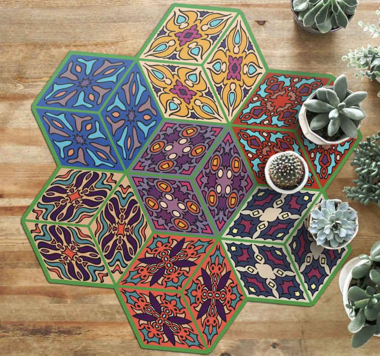 TenVinilo. Alfombras vinílica hidráulica hexágonos azulejos. Alfombra vinílica hidráulica con forma original de azulejos de diferentes diseños y colores que llenarán de alegría ¡Elige tus medidas!
