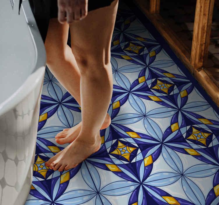 TenStickers. Portugalska niebiesko-żółta mata winylowa mandala. Portugalski niebieski i żółty dywan winylowy mandala, który całkowicie odmieni każde pomieszczenie w domu. Jest antypoślizgowy, łatwy do czyszczenia!