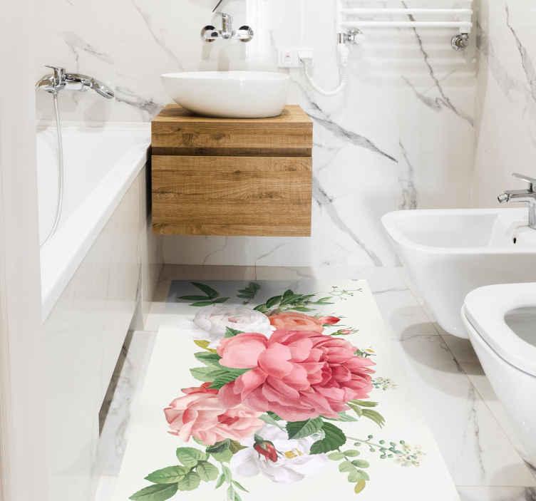 TenStickers. çiçekler ve güller çiçek vinil halı. Beyaz arka plan ve zemin buket tasarımı ile çok güzel ve büyüleyici çiçek vinil halı. Uygun oturma odası halısı, banyo halısı vb.