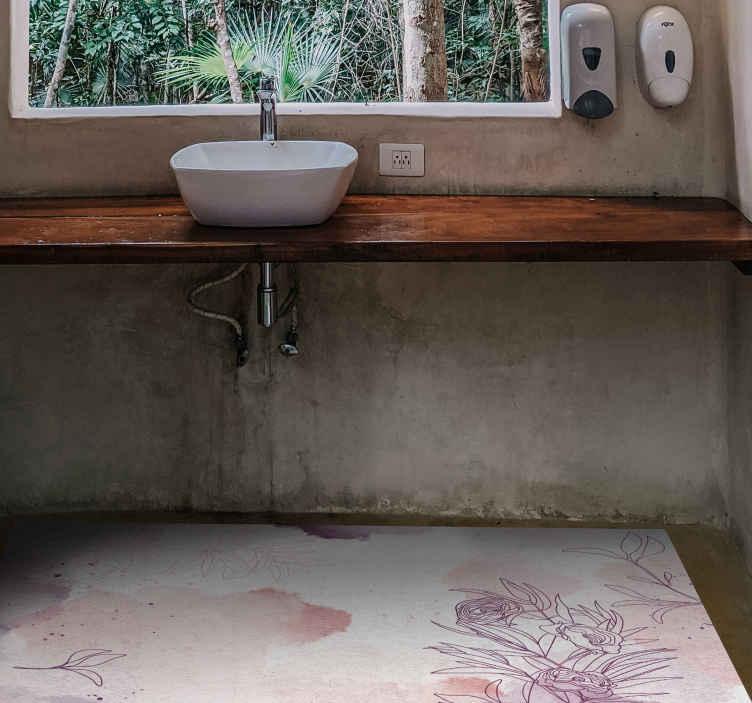 TenStickers. 微妙的粉彩花朵乙烯基地毯. 这款浴室乙烯基地毯基于白色背景,上面散发出柔和的粉红色和紫色的花朵,花香柔和。今天订购!