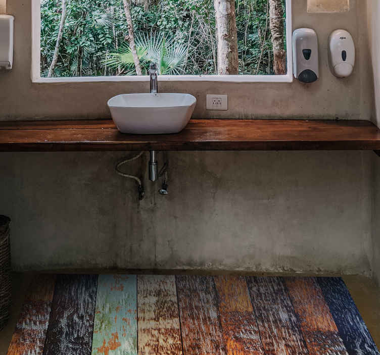 TenStickers. Wooden tiles wood effect vinyl rug. The vintage tile effect vinyl rug looks like dark, wooden tiles in different colours, but the colours are fading away. Stylish and original. Must buy!