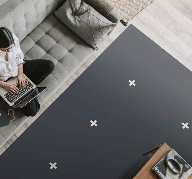 TenStickers. Tapete de vinil preto com sinais de plus estilo nórdico. Este moderno tapete de vinil é baseado em um fundo preto com sinais de adição brancos nele, inspirado nos estilos escandinavos. Escolha o tamanho que você precisa!