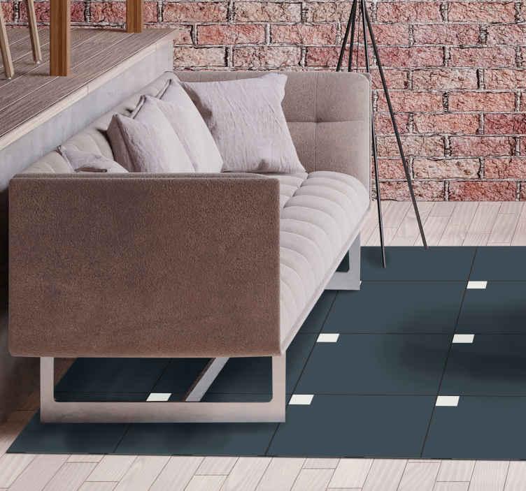 TenVinilo. Alfombra vinilo nórdica azul moderno. Da un toque original a tu hogar con nuestra lujosa alfombra vinilo nórdica de color azul con cuadrados minimalistas ¡Original y fácil de limpiar!