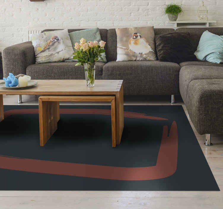 TenStickers. Nordic style simple red square vinyl rugs. This living room vinyl rug is based on dark green background with a brown paint brush square in the middle. Classy and original. Home delivery!