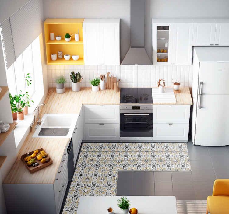 TenVinilo. Alfombra vinilo azulejos retro para cocina. ¡Esta alfombra vinilo azulejos de estilo retro es la compra perfecta que estamos seguros de que te encantará! ¡Elige tus medidas ahora!