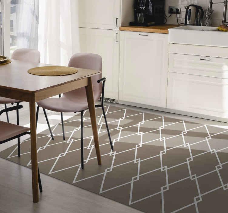 TenVinilo. Alfombra vinilo cocina patrón rombos. Decore cualquier lugar de su casa u oficina con esta original alfombra vinílica geométrica de patrón de rombos y de color gris ¡Envío exprés!
