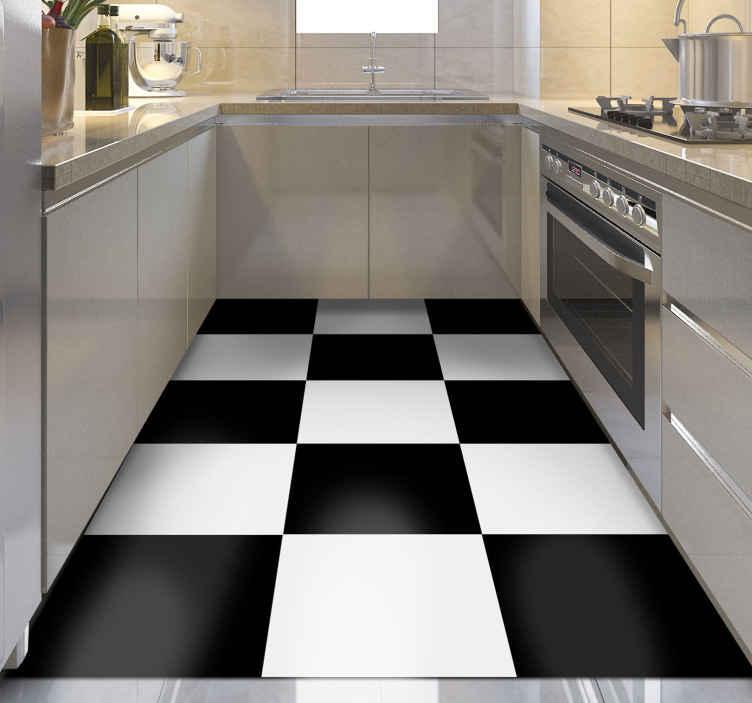 TenVinilo. Alfombra vinilo cocina tablón ajedrez. Alfombra vinilo cocina de cuadrados blancos y negros realistas: es ideal para que decores tu casa de forma original ¡Descuentos disponibles!
