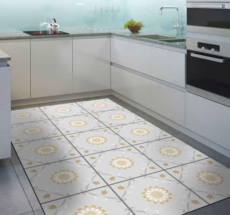 TenVinilo. Alfombra vinilo cocina azulejos de flores. Traiga esta alfombra vinilo cocina gris y amarillo a su hogar u oficina y vea la casa encantadora, convertiría su lugar. Duradero y fácil de limpiar.