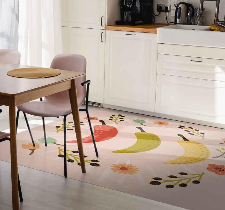 TenVinilo. Alfombra vinilo cocina guindillas coloridas. Esta alfombra vinilo cocina con flores y ají se adaptará perfectamente a tu cocina. Escoge las medidas que necesitas ¡Descuentos disponibles!