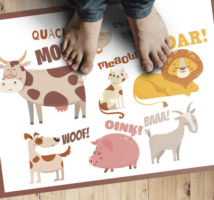 TenStickers. Kids animal noises animal mat. Would you like to make your children remember every day the animal noises?