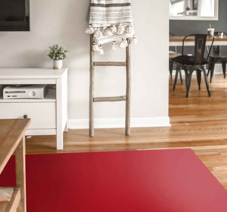 TenStickers. Red contemporary rugs. The red rectangular modern vinyl rug decorative will embellish your interior. . The vinyl mat is very easy to clean and does not contain dirt or dust.