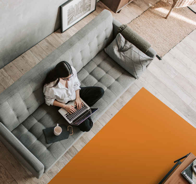 TenStickers. Orange contemporary rugs. A orange rectangular vinyl carpet accentuates the comfort of the room in which it is installed. Vinyl carpets are known for their durability.