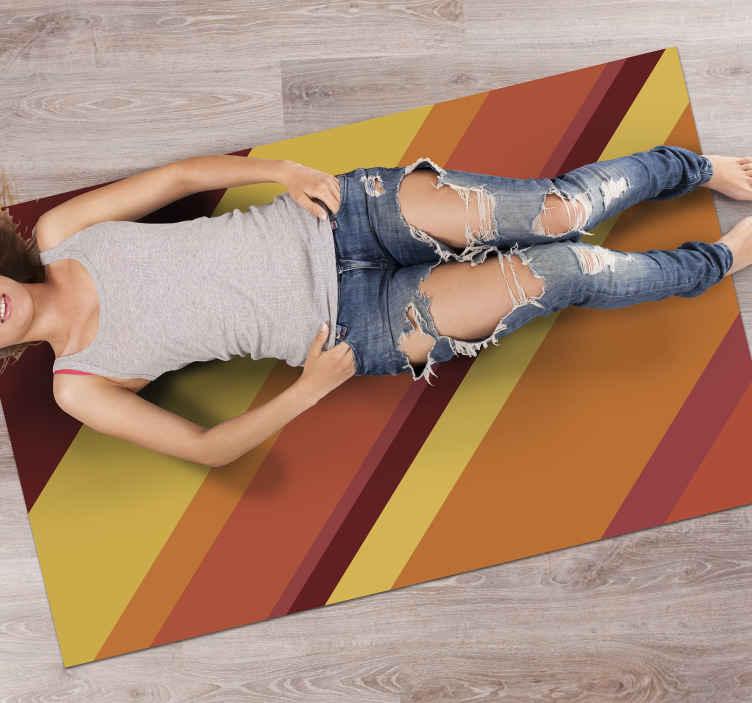 TenStickers. Tapete retro com paleta arco-íris pop dos anos 70. Agora temos este fantástico tapete de cozinha personalizado revestido a vinil que vai adorar pelo seu produtoe pelas suas cores. Zero resíduo após a remoção.