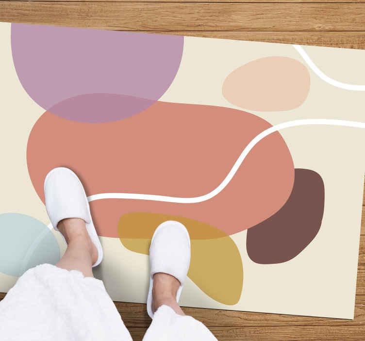 TenStickers. Tapete retro multi arte pop dos anos 70. Incrível tapete de vinil para sala de jantar que você vai adorar por sua simplicidade e confidencialidade. Vinil anti-bolha.