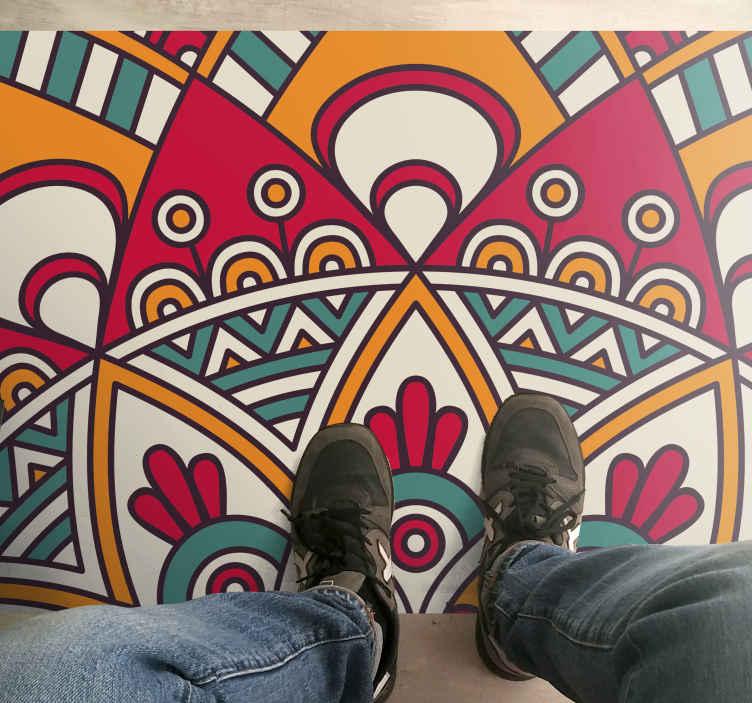 TenStickers. Tapete retro de elemento de círculo ornamental. Decore sua casa com este incrível piso de sala! Não espere mais e peça este produtofantástico hoje!