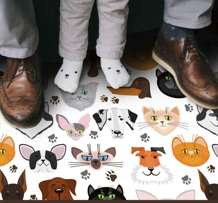 TenVinilo. Alfombras vinílicas de animales Perros y gatos. Alfombra vinílica perros y gatos sobre un fondo blanco, ideal para que decores tu habitación o cualquier otro lugar. Entregamos a domicilio