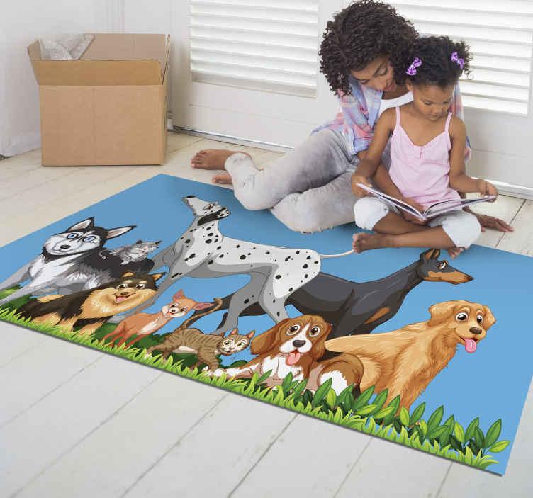 TenVinilo. Alfombras vinílicas de animales Diferentes perros. Alfombra vinílica ilustrada con diferentes razas de perros grandes y pequeños con un lindo estilo perfecto para decorar el suelo de la habitación.