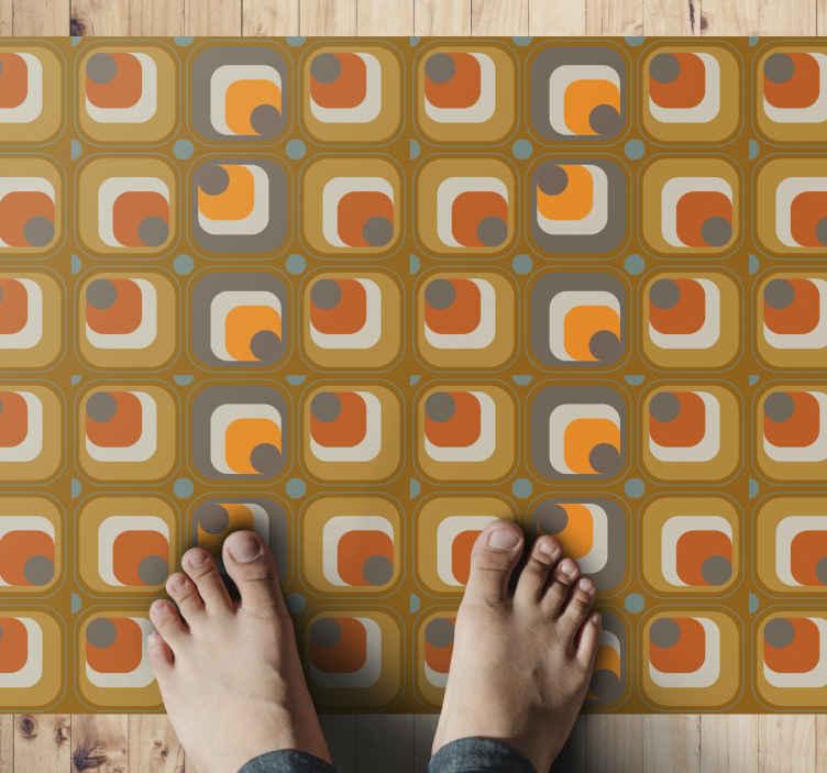 TenVinilo. Alfombra vinilo vintage cuadrados de los 70. Alfombra vinilo vintage con estampado de cuadrados retro de los años 70 le dará a tu casa ese toque clásico que deseas ¡Fácil de mantener!
