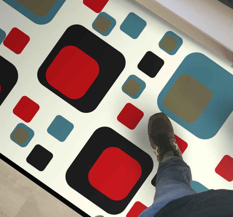 TenVinilo. Alfombra vinilo cuadrados azules y negros . Alfombra vinilo geométrica de cuadrados azules y negros de los años 70. Ideal para dar un toque retro a tu casa ¡Elige tus medidas!