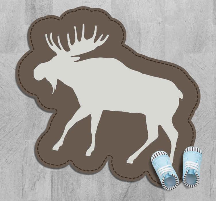 TenVinilo. Alfombra vinilo animales silueta alce. Alfombra vinilo animales con la forma de un alce que se puede utilizar para decorar cualquier suelo de tu casa. Elige las medidas ¡Fácil de mantener!