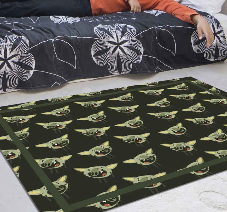 TenVinilo. Alfombra vinílica étnica Troll de dibujos animados recogiendo la . ¡un diseño de alfombra vinilo dormitorio vikingo perfecto que le dará a tu casa mucha más energía! ¡tenga este hermoso producto en casa pronto!