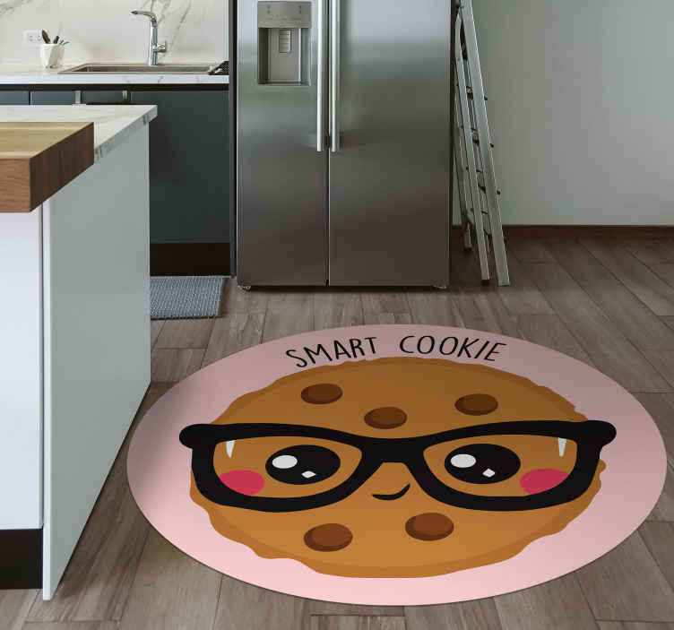 """TenStickers. Smart cookie drawing bespoke rugs. Would you like to get this lovely kitchen floor tiles """"Smart cookie drawing""""? Contact us if you want to give it your own touch! Anti-bubble vinyl."""