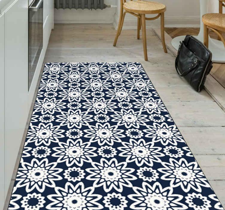 TenVinilo. Alfombras vinilo azulejos mosaico azul. Alfombra vinilo azulejos hidráulica con mosaico de color azul para que decores tu baño o cocina de forma original ¡Elige tus medidas!