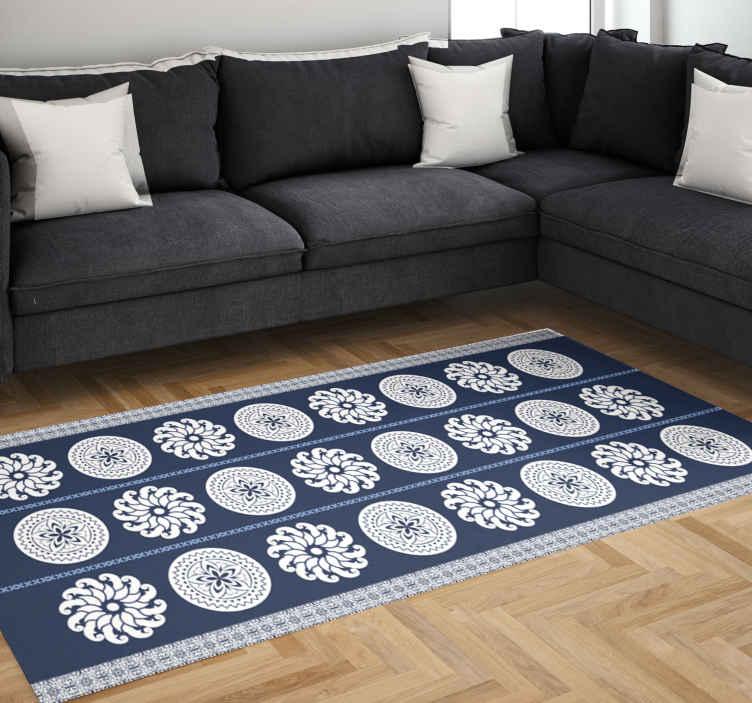 TenVinilo. Alfombras vinílica mosaico mandala azul y blanco. Alfombra vinilo de mosaico de flores blancas y azules para decorar cualquier estancia de tu casa de forma única ¡Descuentos disponibles!