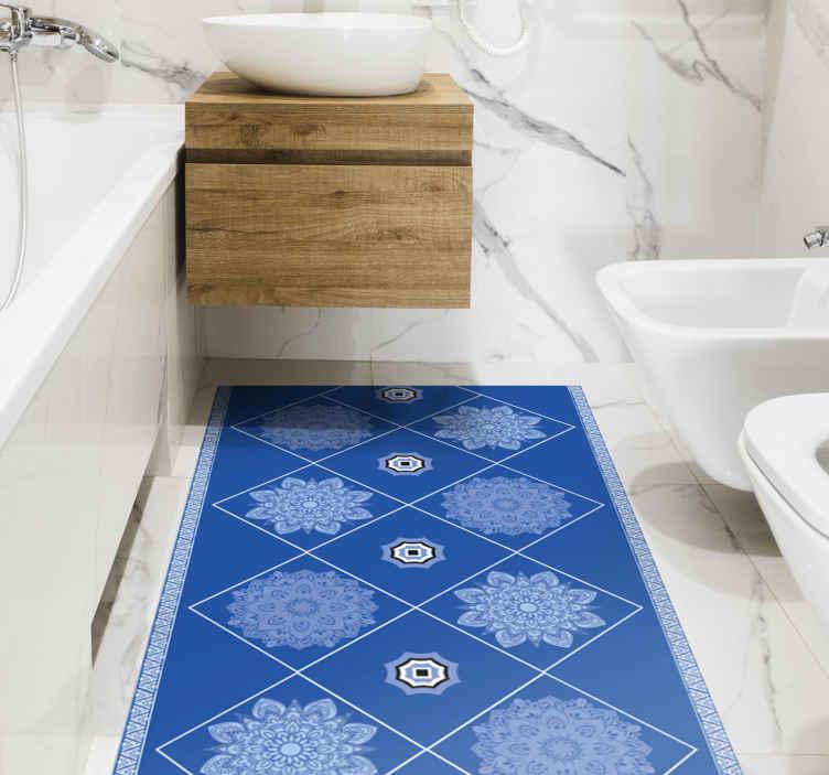 TenVinilo. Alfombras vinilo azulejos de mandalas azules. Dale vida a cualquier estancia con esta alfombra vinilo azulejos de mandalas azules. Perfecta para cualquier lugar de tu casa ¡Envío exprés!