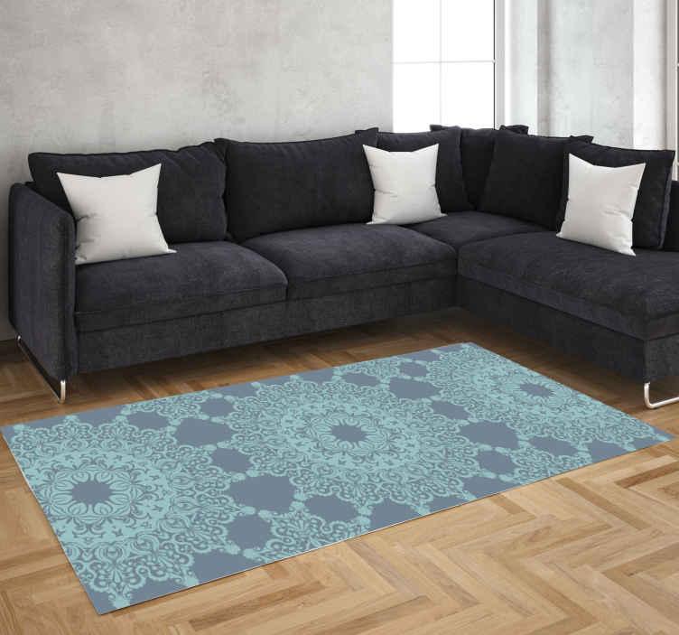 TenVinilo. Alfombras vinilo mandalas color azul. Cambie el aspecto de su casa con nuestra alfombra vinilo mandalas de estilo marroquí: su diseño le dejará su casa con un toque clásico.