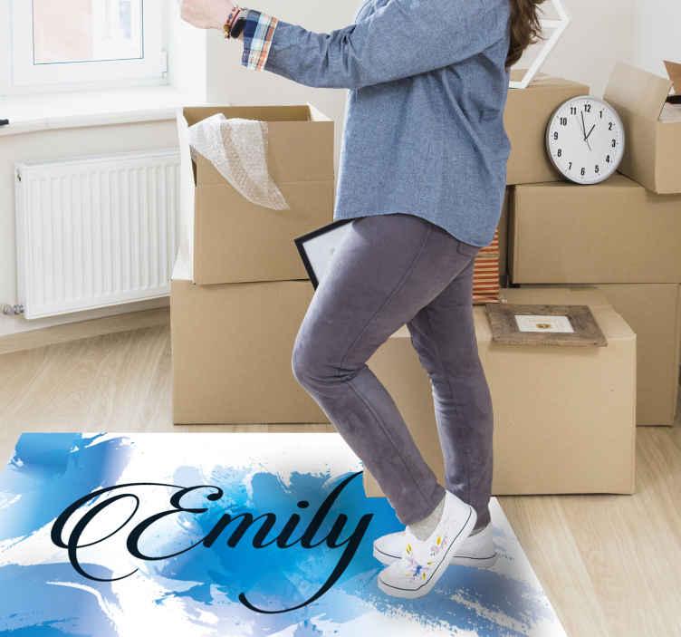 TenVinilo. Alfombra de vinilo con nombre Elegante azul. Decore su casa con este fantástica alfombra de vinilo para dormitorio personalizable en azul. ¡no espere más y compre este increíble diseño hoy!