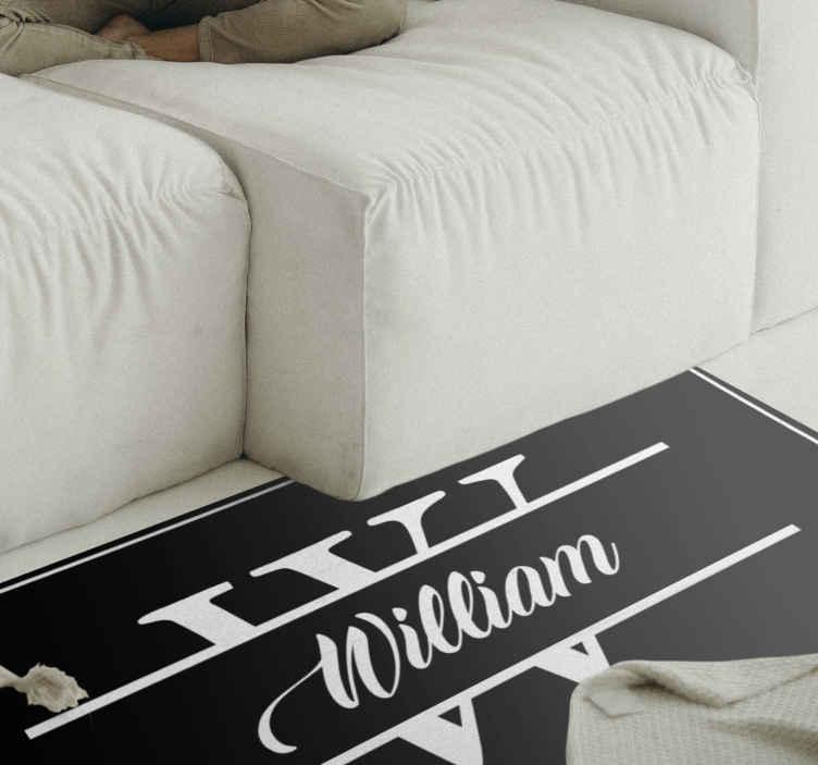 TenVinilo. Alfombra vinilo con nombre e inicial negra. Decora tu casa de forma exclusiva con esta alfombra vinilo con nombre e inicial de color negro. Elige las medidas ¡Fácil de mantener!