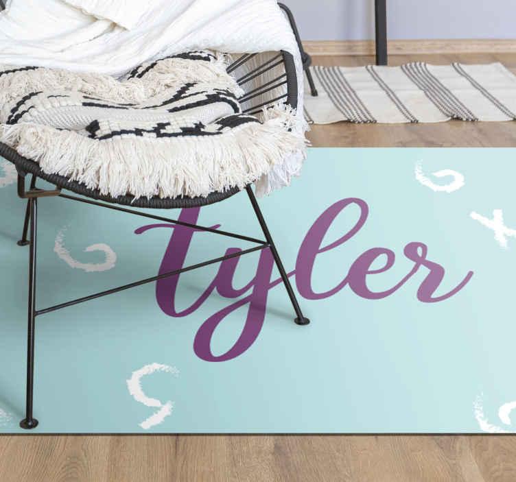 TenVinilo. Alfombra vinilo con nombre de garabatos. ¡Personalice su habitación con esta increíble alfombra vinilo con nombre! Diseño azul ideal para dormitorio infantil ¡Elige tus medidas!