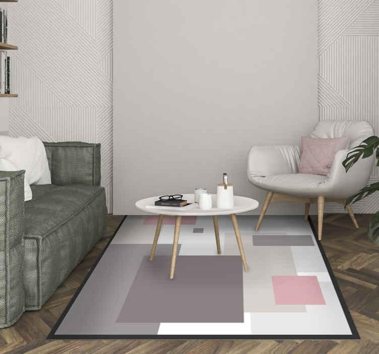 TenVinilo. Alfombra vinilo nórdica cuadrados sobrios. La alfombra vinilo nórdica cuadrados tonos pastel sobrios es muy fácil de limpiar y no retiene la suciedad ni el polvo ¡Elige las medidas!