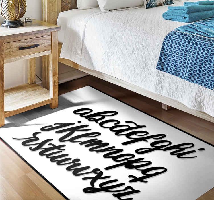 TenVinilo. Alfombra vinilo texto letra manuscrita. Personalice su casa con nuestra alfombra vinilo texto de letra manuscrita original con letras de texto. Elige medidas ¡Envío exprés!