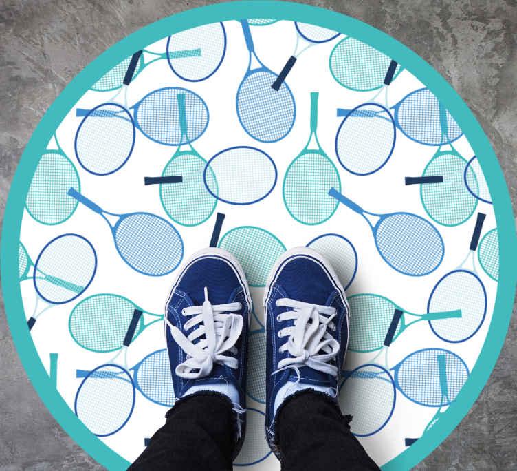 Image of Tappeto in vinile forma rotonda Modello di racchetta delicato