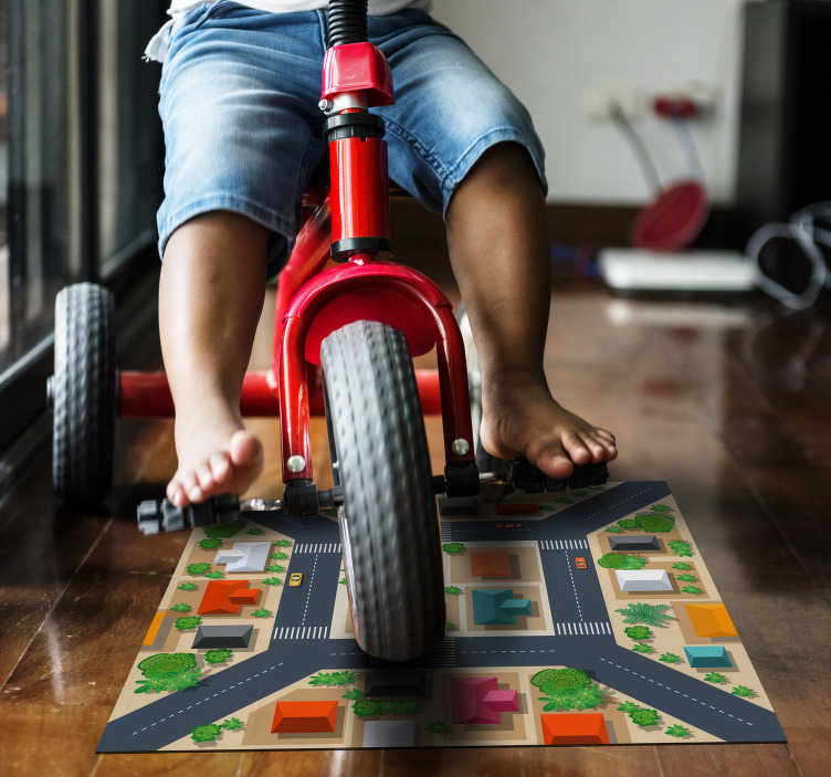 TenStickers. fantastic kids road carpet rug. Explore the many ways this fantastic squared kids road vinyl rug can help you in the decorations of your children's room!