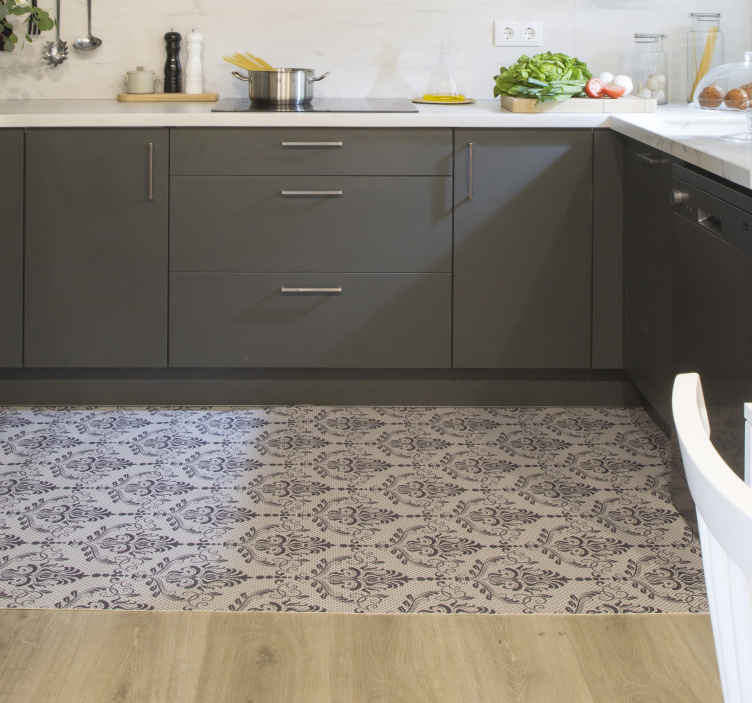 TenStickers. Ornamental Floral vinyl carpet. Stop for a second and take a look at this amazing rectangular modern vinyl rug! This incredible decoration item is exactly what you need