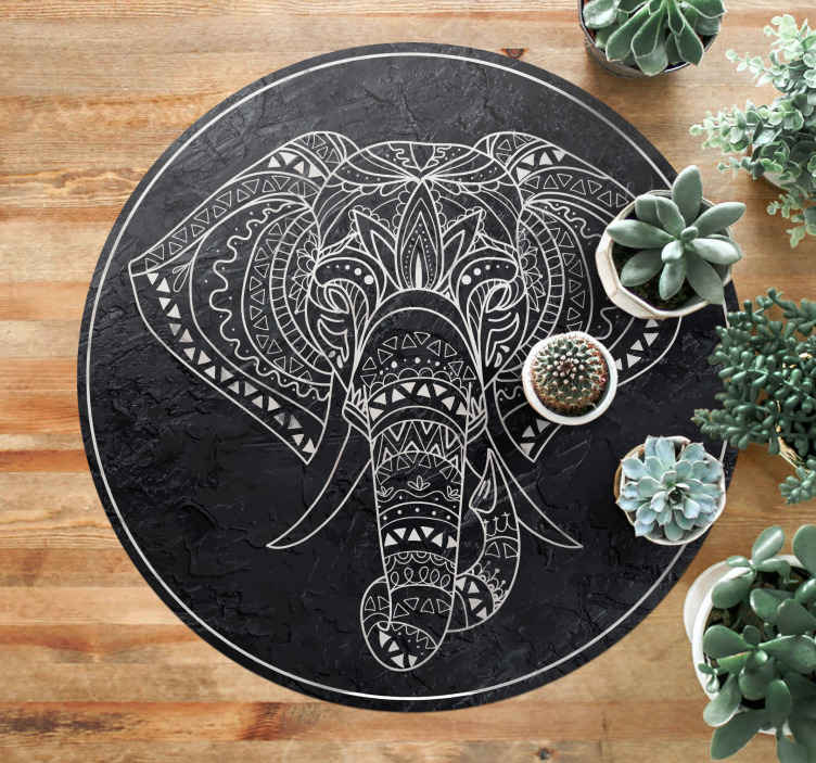 TenStickers. elephant shaped marble texture mandala mat. An awesome elephant textured vinyl rug that will add loads of character to your home! Personalised stickers just for you.