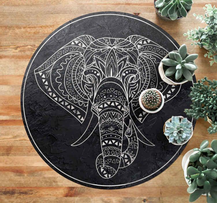 TenStickers. 大象形大理石纹理曼荼罗垫. 一款超棒的大象纹理乙烯基地毯,可为您的房屋增添更多特色!为您量身定制的个性化贴纸。