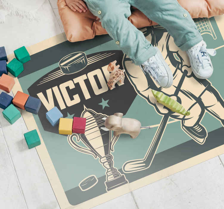 TenStickers. Hockey player with name kids vinyl carpet. A hockey themed customisable vinyl rug perfect for any kid's bedroom! Choose the size that is a perfect fit for their room.